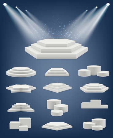 Podium realistic. Showroom pedestal stages different platforms arena winner table shapes vector collection. Illustration realistic podium and pedestal to showroom presentation Ilustracja