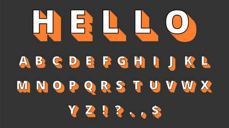 3d typeface. Volume alphabet, retro letters and signs. Hello, decorative font vector illustration. Abc type lettering, letter alphabetical typography