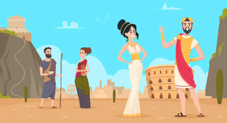 Rome background. Traditional historical landscape with citizens in authentic clothes exact vector cartoon rome people. Illustration roman citizen and greece, clothing senator antique