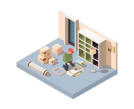 Interior furniture craft. Men assembly new desk or wooden wardrobe in room renovation home interior installing appliance garish vector Isometric carpentry worker, repair and fixing illustration
