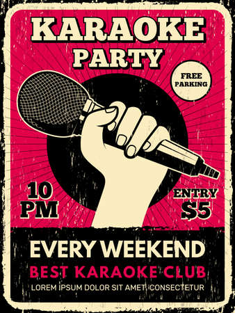 Karaoke party poster. Music club placard with microphone silhouettes recent vector flyer template. Karaoke music poster party, musical microphone illustration  イラスト・ベクター素材