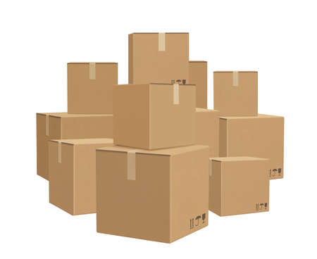 Warehouse boxed. Cardboard parcel packages piles for delivery big lots boxed decent vector background. Cardboard parcel box, carton pile package illustration