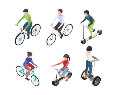 Bike people isometric. Persons riding bicycles fitness outdoor activities garish vector transport illustrations. Healthy training, childhood bicycle isometric