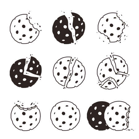 Bitten cookies crumbs. Snack delicious biscuits vector stylized dessert food symbol. Chocolate cookie, bakery bite dessert, pastry homemade black white illustration