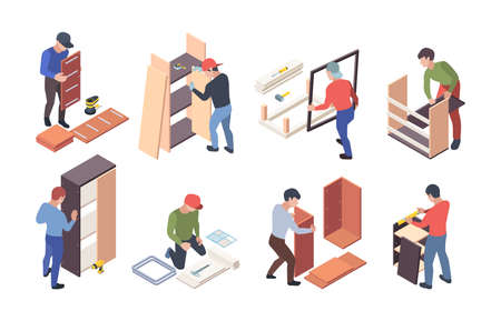 Furniture production. Upholstered instruments for wooden furniture crafting workers assembly shelves and desks vector isometric. Furniture worker, wood profession, handyman and craftsman illustration