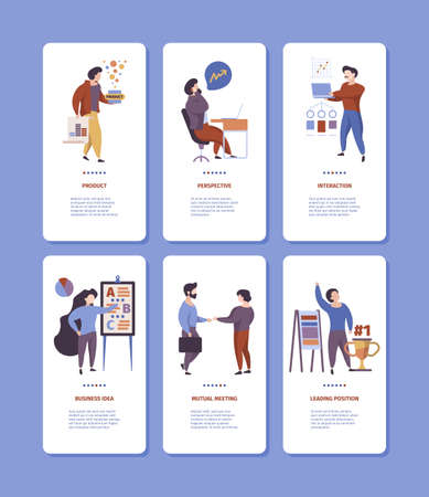 Onboard business banners. Corporate managers conversation talking phone dialogue startup meeting garish vector web templates. Startup and development, financial interface application Ilustracja