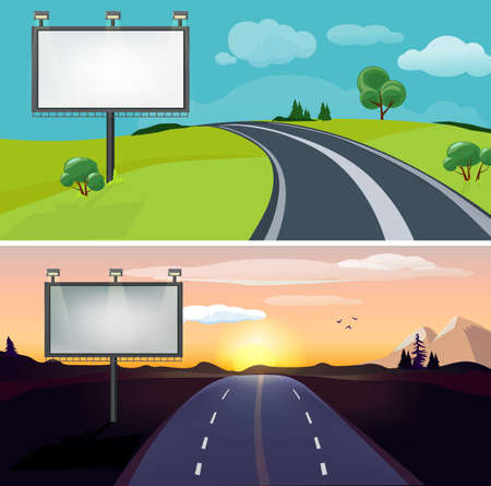 Road landscapes. Day night highway with blank billboard. Country evening morning roadway vector background. Road billboard, horizontal landscape speedway illustration