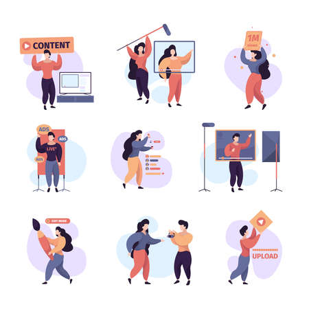 Blogger lifestyle. Video streaming broadcasting content makers creative people writers showing selfie garish vector flat characters. Streaming online, media influencer, social stream illustration