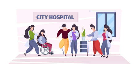 Disabled people care. Medical personal nurses and doctors helping to disabled persons in wheelchairs damages body parts garish vector background. People disabled, nursing medical illustration