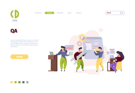 Qa landing page. Web app testing software programming bugs fixing online prototype garish vector template. Software computer test, web bug illustration Ilustracja
