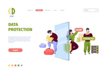 Bigdata security. Firewall safe protective services personal data cyber security garish vector symbols. Safety protection, firewall information protect illustration