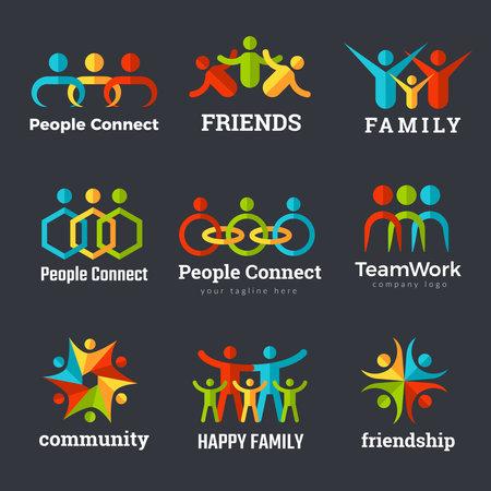 Friendship logo. Business community partnership team works family union recent vector symbols. Friendship logo partnership, cooperation business team community illustration