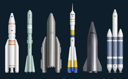 Rockets realistic. Cosmos spaceships for expedition rocket launch missles exploring universe decent vector pictures. Illustration power jet rocket, spaceship and spacecraft realistic