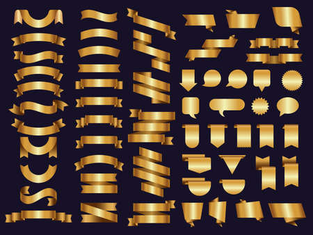 Golden ribbons. Decoration symbols tapes and luxury banners recent vector templates collection. Illustration tape golden ribbon decoration