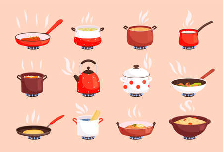 Cooking food. Boiling in kitchen pan on gas stove cookware processes egg and soup preparing nowaday vector flat pictures set isolated. Saucepan and pot, cooking food in pan illustration Vetores
