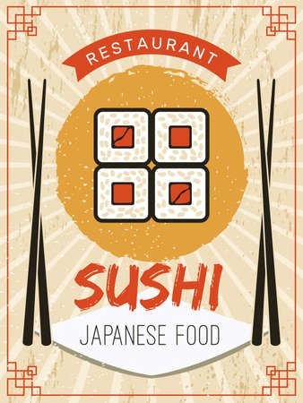 Sushi poster. Retro flyer or placard template stylized pictures of seafood salmon fishes rice with sauce chopstick recent vector pictures for ads. Illustration menu oriental restaurant, japanese roll