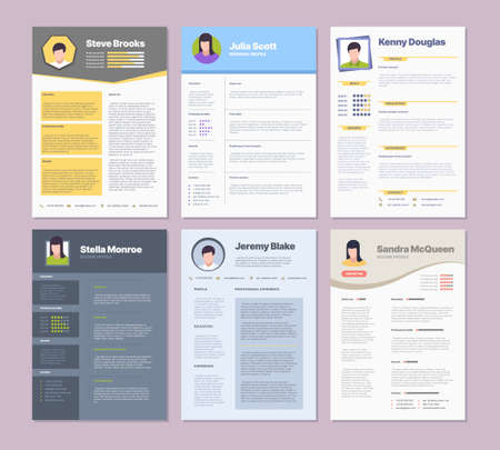 Resume template. Modern clean design layout for corporate managers curriculum vitae garish vector. Illustration resume professional layout, interview page