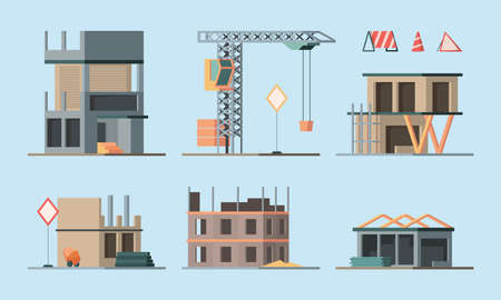 Construction stages. Building houses foundation workers making brick walls little houses and big skyscraper garish vector flat ortogonal colored illustrations collection