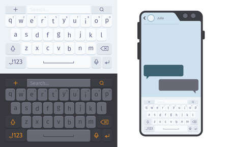 Smartphone keyboard. Numbers and letters for smartphone ui dark and white theme typing buttons garish vector template