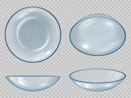 Contact lens. Eyes optical items clean healthy view clear correction sight decent vector realistic set