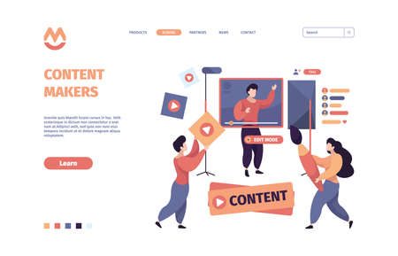 Video blogging. Content makers online web developers writers garish vector template of landing page
