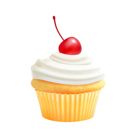Cream cupcake. Realistic biscuit, cake with cherry. Isolated sweety food, yummy breakfast or bakery element. Cafe, reataurant dessert vector illustration