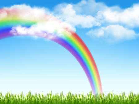 Sunny background. Green grass blue sky with clouds and rainbow decent vector realistic garden landscape