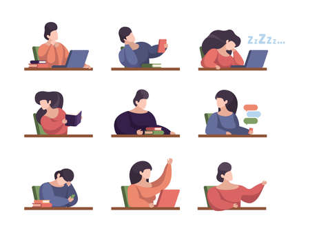 Lazy students. People in lecture room with laptop college persons studying sitting listening talking sleeping in university garish vector illustrations