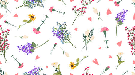 Wild flowers pattern. Spring summer print, love romantic floral vector seamless texture Vettoriali