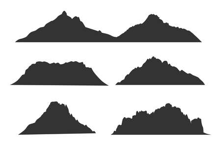 Mountains black silhouettes for outdoor design or travel labels vector set