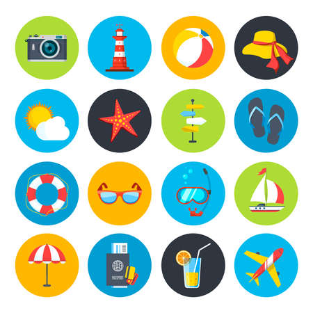 Vector summer icon set. Sunrise, sea and vacation tour Vetores