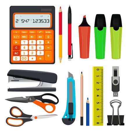Pencils pens and other different office stationery vector illustrations set isolate on white