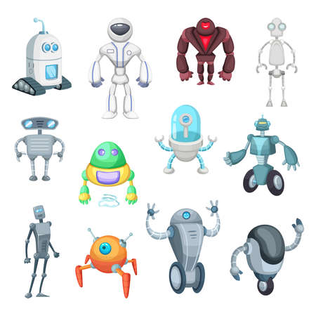 Cute mechanic monsters. Toys for kids. Characters of robots. Vector pictures in cartoon style