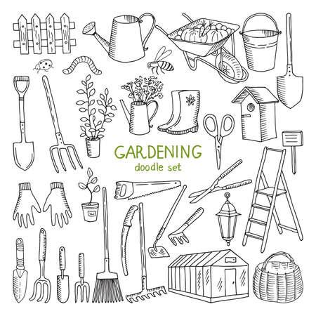 Vector hand drawn illustrations of gardening. Different doodle elements set for garden work Vecteurs