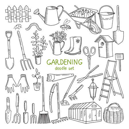 Vector hand drawn illustrations of gardening. Different doodle elements set for garden work Vektoros illusztráció