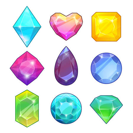 Different gemstones. Brilliants and diamonds in cartoon style. Vector illustrations for game design projects