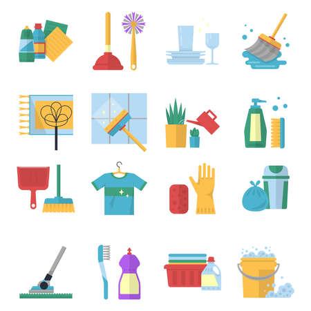Vector symbols of cleaning services in cartoon style. Brush, dust and bucket Ilustración de vector