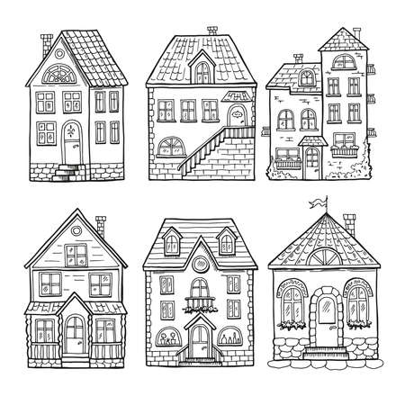 Cute little houses and different roofs. Doodle vector illustration of home Ilustración de vector
