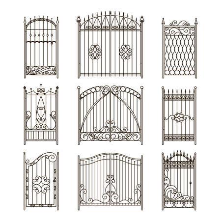 Iron gates with decorative elements. Vector monochrome pictures set Ilustración de vector