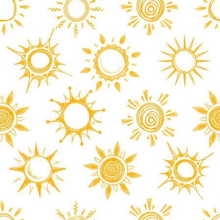 Funny yellow summer sun vector seamless pattern Vettoriali