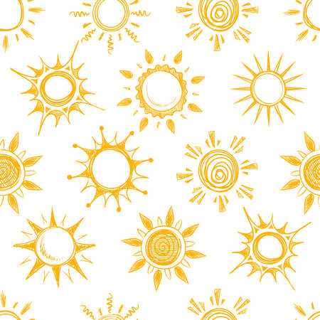 Funny yellow summer sun vector seamless pattern Vektorové ilustrace