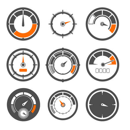 Vector illustrations set of different speedometers. Miles and speed indicators
