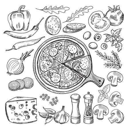 Illustrations of classical italian cuisine. Pizza and different ingredients. Fast food pictures set Vettoriali
