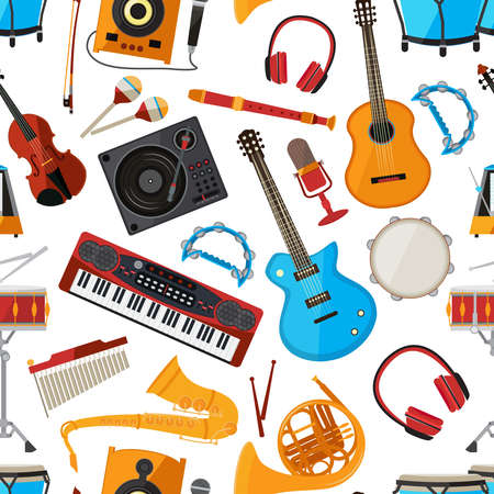 Speakers, amplifier, synthesizer and other music instruments and accessories. Vector seamless pattern