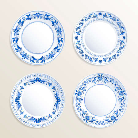 Vintage plates painted at gzhel style. Vector pictures of russian dishes