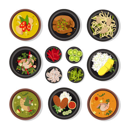 Vector illustrations of thai food. Vector icons pack isolate on white