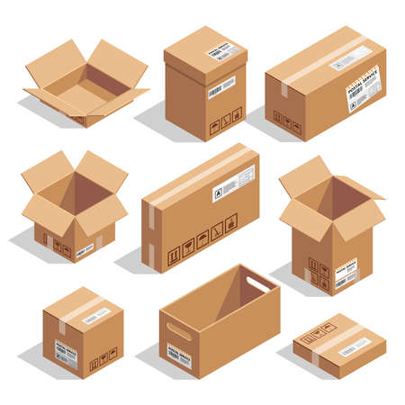 Opening and closed cardboard boxes. Isometric illustration set