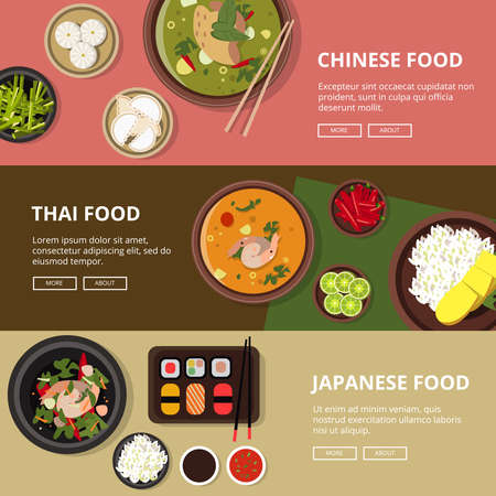 Three horizontal banners with thai, japanese and chinese food. Vector illustrations with place for your tex