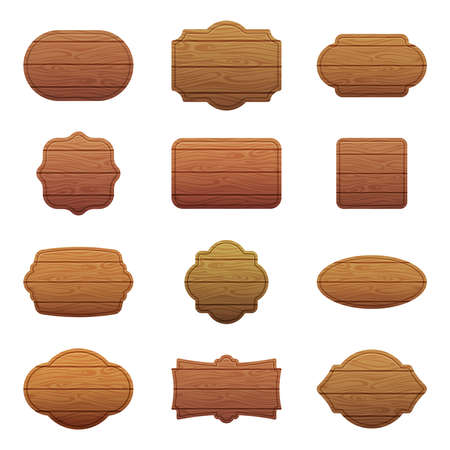 Illustration set of different shapes with wooden texture. Empty vector banners with place for your text Vettoriali