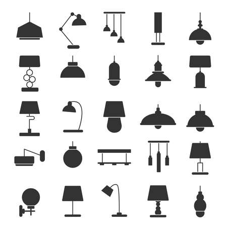 Silhouette of modern interior equipment. Chandeliers, lamps on desk and floor. Black vector illustrations of symbols of light